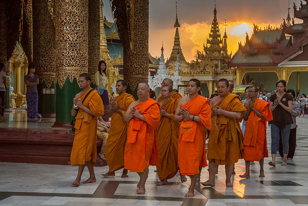 Monks in Shwedagon at Nightfall