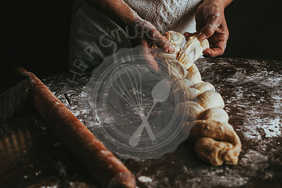 A Woman Prepares Homemade Braided Bread at Home