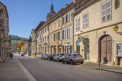 ARBOIS, FRANCE - OCTOBER 26, 2019: Rue de l'Hotel de Ville, Arbois, France.