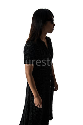 A silhouette of a woman in a dress - shot from eye level.