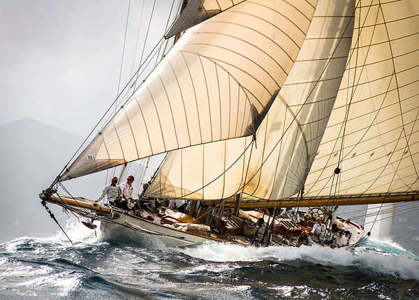 Classic yacht Moonbeam III rides the waves off Cannes EXC