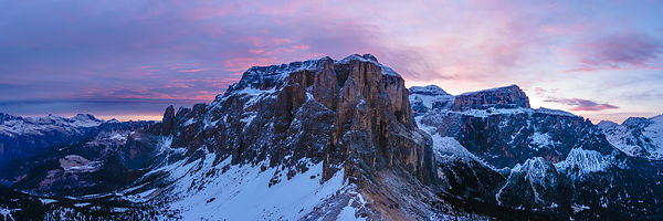 Purple sky over the Dolomites