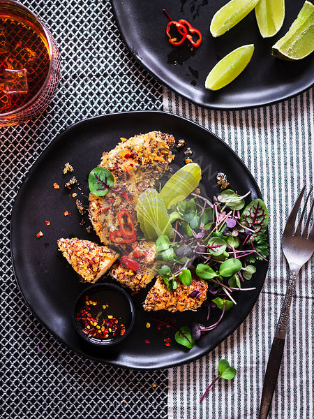 Chia Crusted Chicken Strips with microgreens