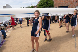 #124852,  One of the Christ Church College women's teams getting their boat into the water.  The 'Summer Eights', a week of r...