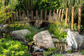 The Through Your Eyes garden designed by Lawrence Roberts and William Roobrouck at the RHS Hampton Court Palace Garden Festiv...