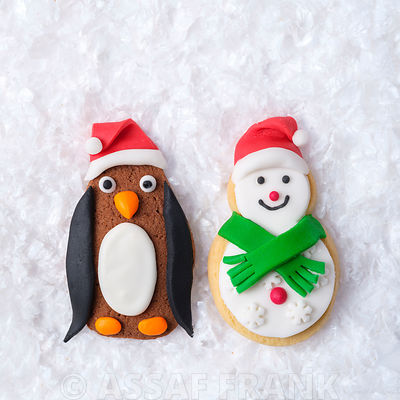 Christmas Penguin and Snowman biscuits