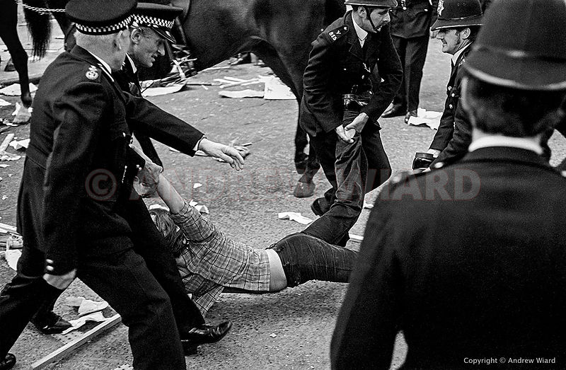 England, UK .15.6.1974. London . Red Lion Square. During clashes between police and demonstrators protesting against a Nation...