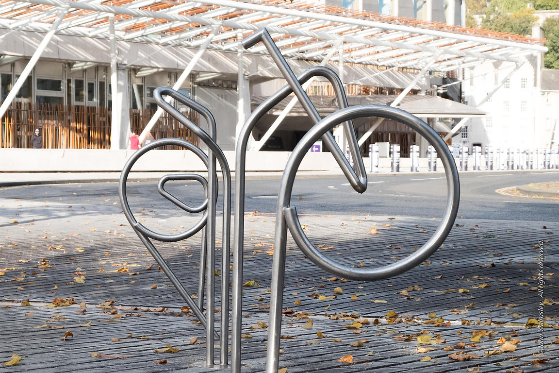 #122524,  Bicycle stands, designed by EMBT/RMJM, to be an integral part of the landscape at the Scottish Parliament building,...