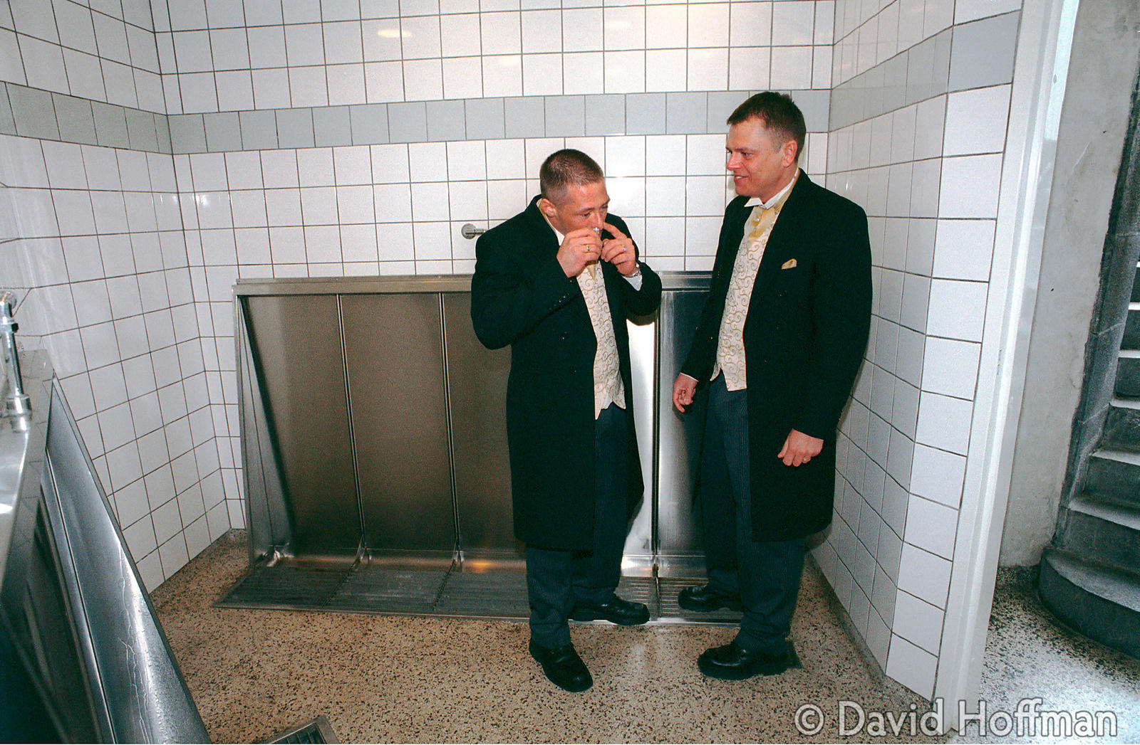 Newly wed gay couple take a quick snort of cocaine in the bogs