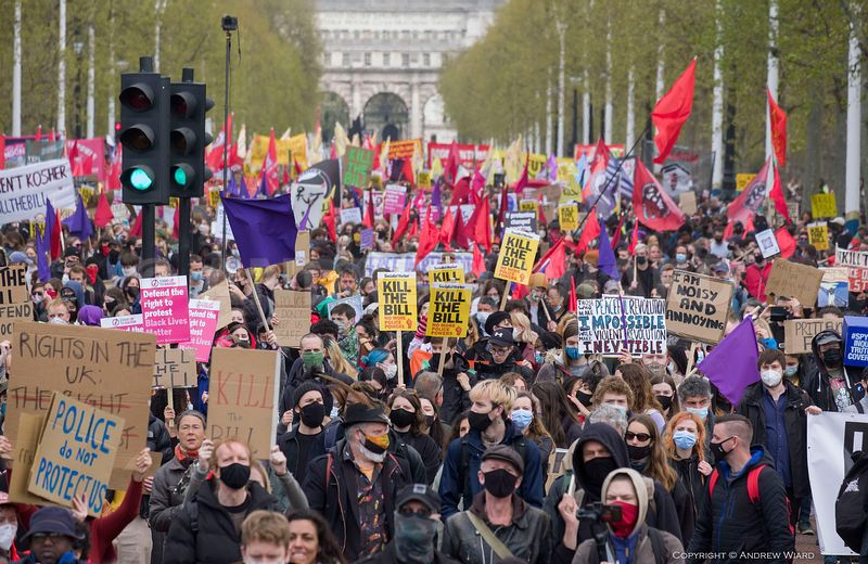 England, UK. 1.5.2021. London. Mayday Kill The Bill demonstration protesting against the police, crime, sentencing and court...