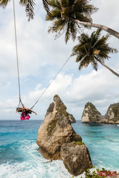 Woman on a swing, Diamond beach, Nusa Penida, Bali