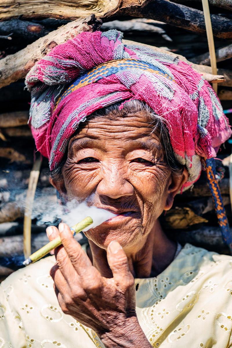 Old burmese woman portrait, Myanmar