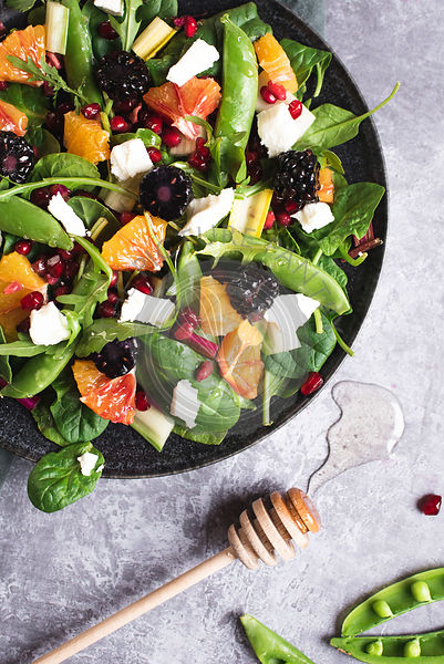 Winter Salad With  Goats Cheese, Blood Oranges, Blackberries, Pomegranate And Rainbow Chard Drizzled In Honey