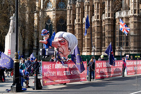 #124664  An effigy of the British Prime Minister, Theresa May MP, created by Brexiteers (in favour of Brexit) who demonstrate...