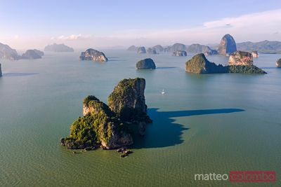 Aerial view of karst peaks, Phang Nga bay, Thailand