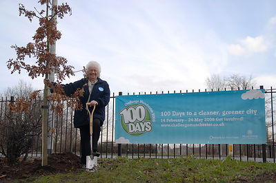 Mary Armstrong from Keyhaven Walk, Collyhurst plants the 2008th tree from Manchester City Council as part of the Enviromental...