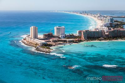 Aerial view of Cancun hotel zone, Quintana Roo, Mexico