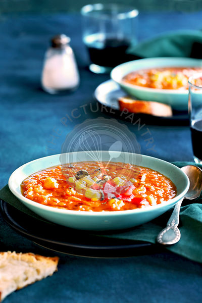 Zesty red lentil tomato soup