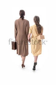 A 1940's woman and girl, walking away – shot from eye level.