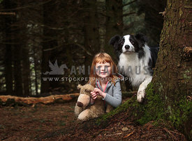 girl with teddy and dog