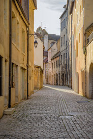 Medieval Street in the city of Dole in the Jura department in the Franche-Comté region in eastern France.
