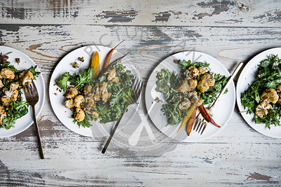 Roasted cauliflower and kale salad with lemon brown butter dressing