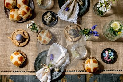Easter table setting with cross buns