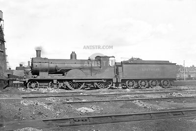 T9 Class No 120 stands between duties at Nine Elms mpd  c. 1938