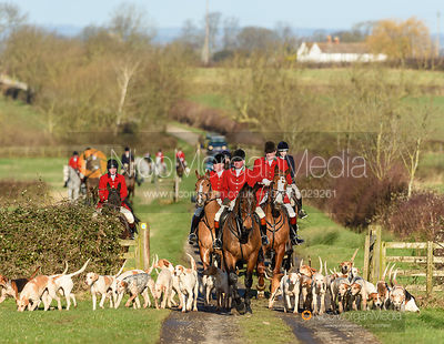 The Tynedale hounds arriving at the meet. The Tynedale hounds visit the Belvoir Hunt at Sheepwash 12/2
