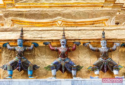 Demon statues, Golden chedi, Temple of the Emerald Buddha, Bangkok