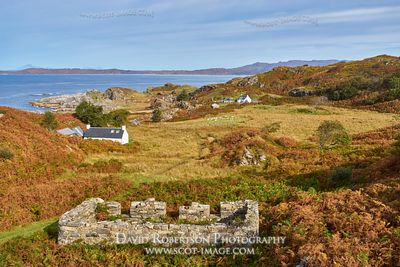Prints & Stock Image - Houses and ruins at Smirisary, near Glenuig, Moidart, Lochaber, Highland, Scotland.