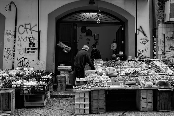 Fruit and vegetable vendor in Vucciria district in Palermo.