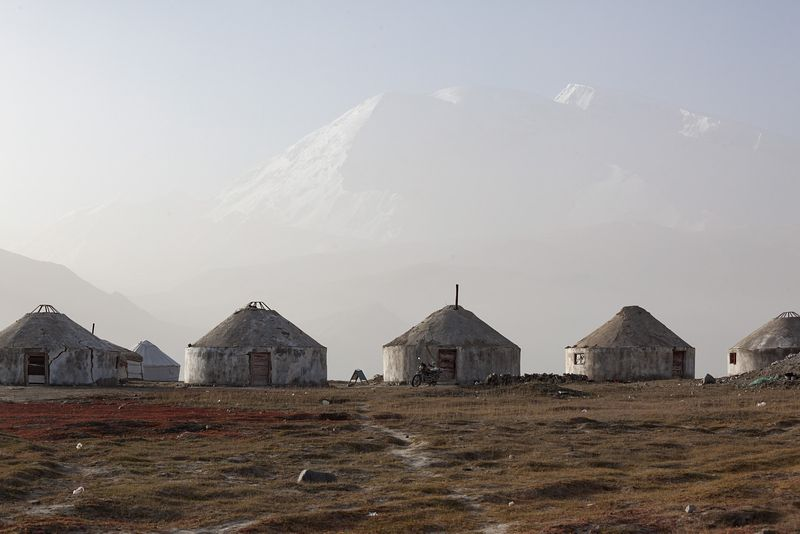 Typical kirgiz yurts near Karakul lake, Xinjiang, China