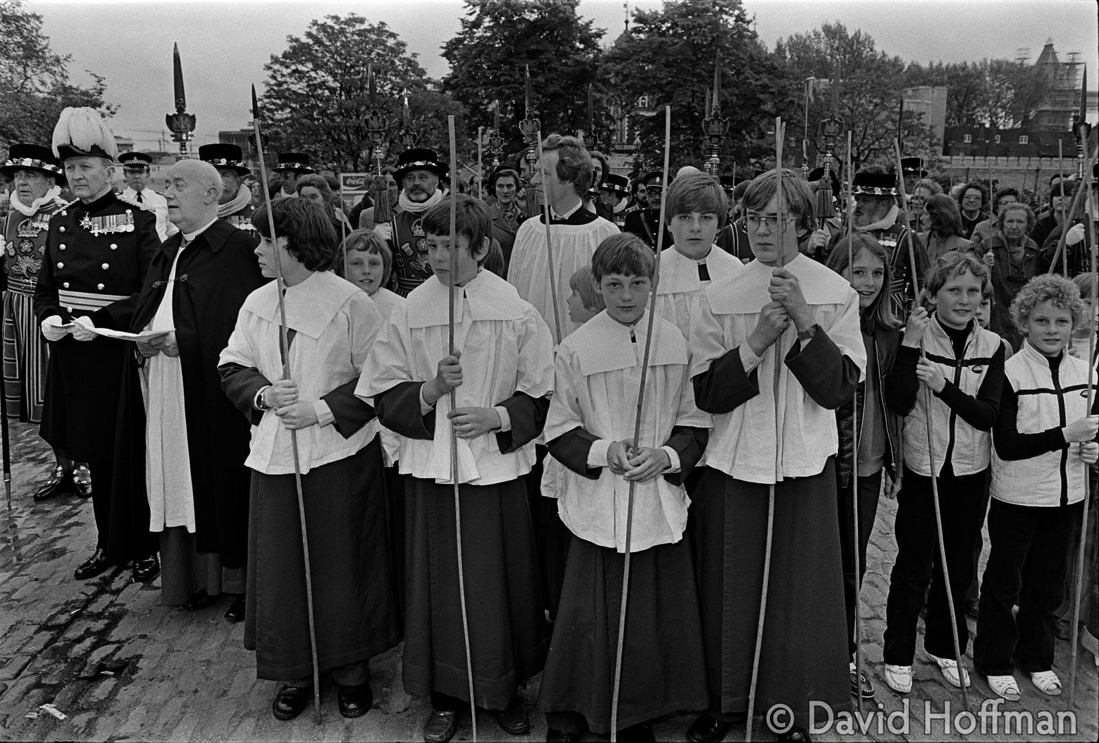 Beating the bounds at All Hallows, Byward Street, London 28 May 1981.