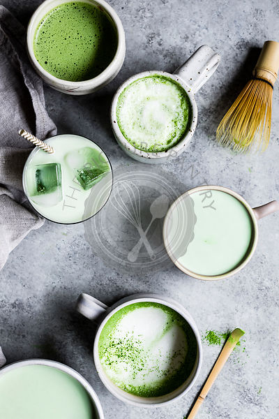 Making a matcha tea and matcha latte