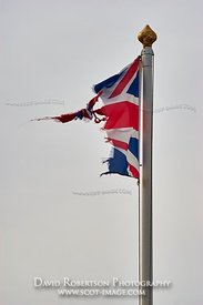 Image - The UK Union flag in tatters.  Lyness, Hoy, Orkney, Scotland