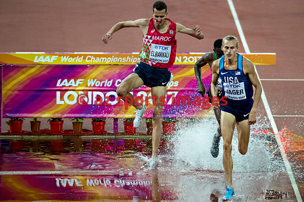 Evan Jager (USA) competes at the 3000m steeplechase during the IAAF World Athletics Championships London 2017/ photos angelos...