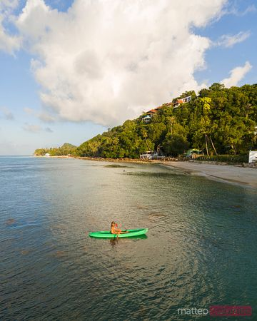 Aerial view of woman kayaking, Ko Samui, Thailand