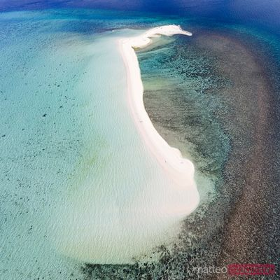 Overhead view of white island, Camiguin, Philippines