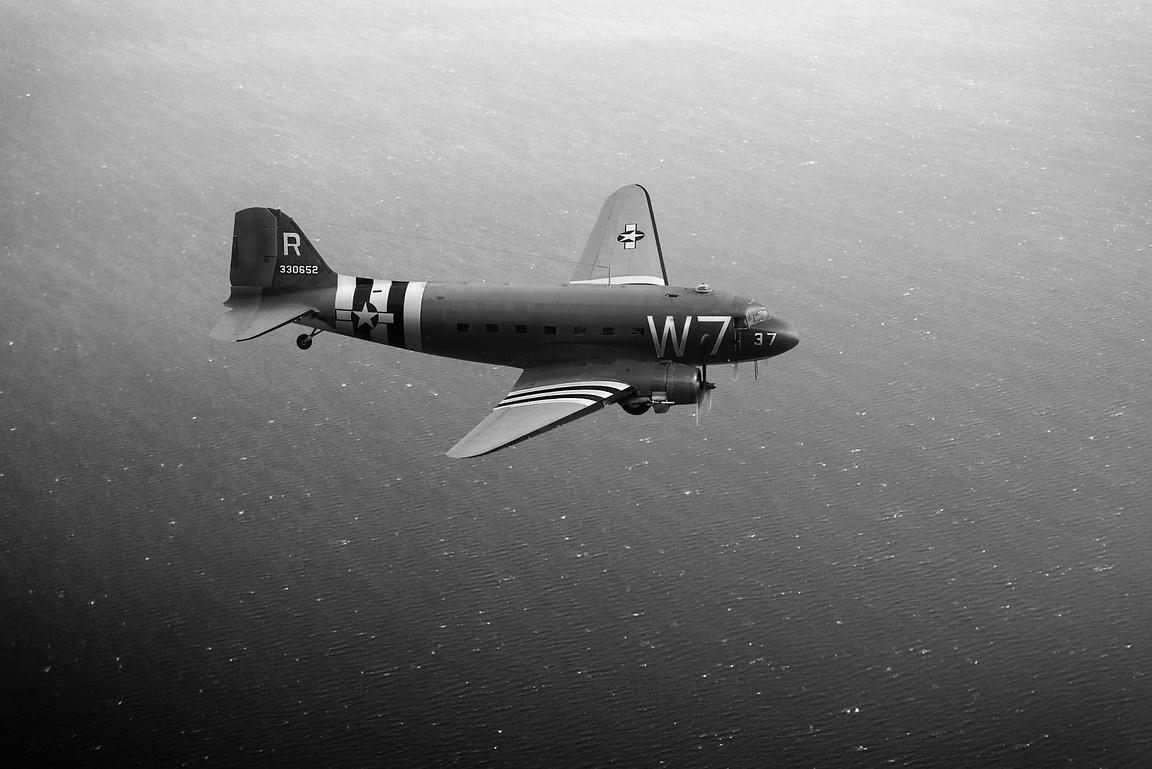 C-47 Skytrain over the Channel B&W version