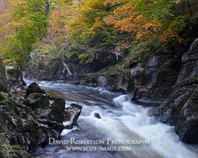 Prints & Stock Image - A cascade on the River Lyon, Glen Lyon, Perth and Kinross, Scotland.  In autumn