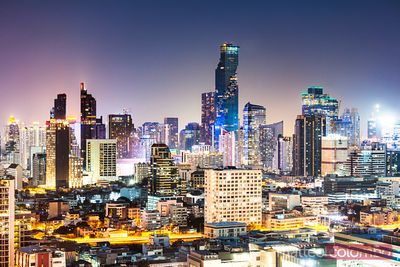 City skyline at night, Bangkok, Thailand