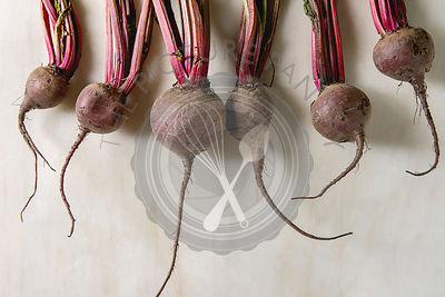 Bundle of young garden beetroot