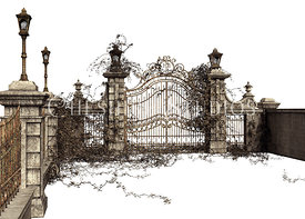 Ornate Wrought Iron Gate and Stone Wall
