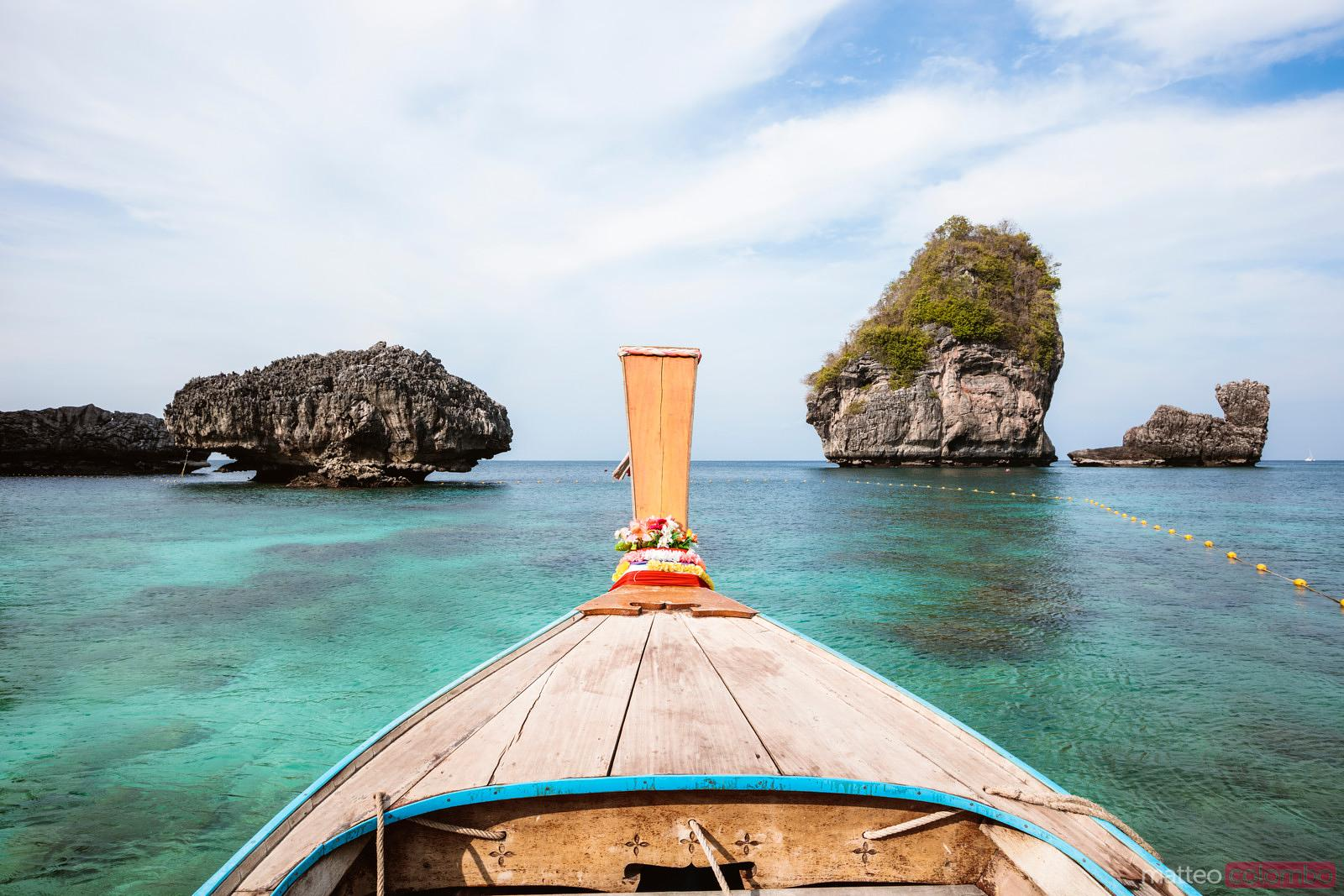 Longtail boat prow in the tropical sea of Thailand