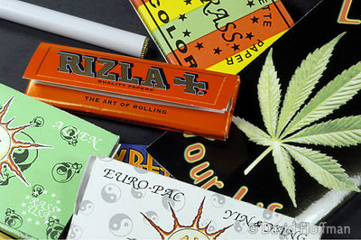 Cigarette papers for rolling cannabis cigarettes.
