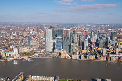 Aerial view of Canary Wharf, London.
