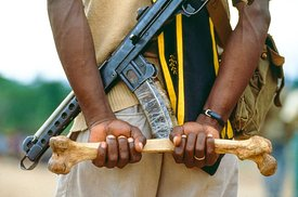 NPFL Rebel Holding Human Bone