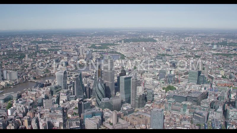 Aerial footage over the City of London, London.