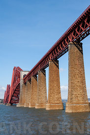 View of south bank of the Forth Bridge across the Firth of Forth, in Scotland.